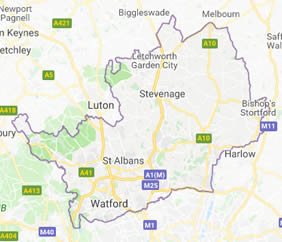 map of St Albans showing area covered